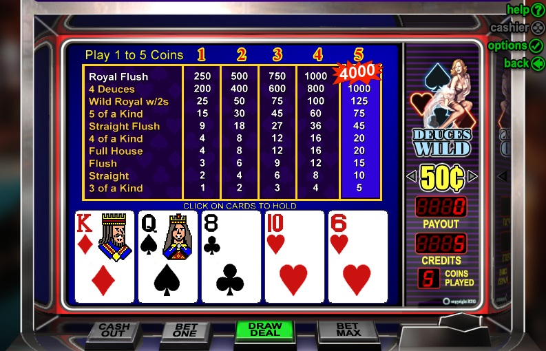 play free video poker deuces wild